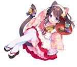 1girl :d animal_ear_fluff animal_ears apron bell black_footwear blush bow brown_hair cat_ears cat_girl cat_tail commentary_request floral_print frilled_apron frills full_body holding holding_tray japanese_clothes jingle_bell kimono long_hair long_sleeves looking_at_viewer maid_headdress open_mouth origami original paper_crane pinching_sleeves pink_kimono piyodera_mucha pleated_skirt print_kimono red_skirt simple_background skirt sleeves_past_wrists smile solo tail tail_bell tail_bow thigh-highs tray violet_eyes wa_maid white_apron white_background white_legwear wide_sleeves