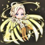 1girl blonde_hair blue_eyes breasts bright_pupils brown_background brown_legwear chibi diamond-shaped_pupils energy eyebrows_visible_through_hair full_body glowing glowing_wings greaves highres holding holding_staff leg_up light_particles looking_at_viewer mechanical_halo mechanical_wings medium_breasts mercy_(overwatch) no_nose outstretched_hand overwatch pantyhose pelvic_curtain short_hair smile solo sparkle spread_wings staff sumino_akasuke symbol-shaped_pupils white_pupils wings yellow_wings