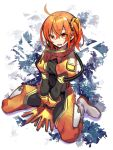 1girl ahoge boots fate/grand_order fate_(series) fujimaru_ritsuka_(female) gloves highres negi_(ulog'be) orange_eyes orange_gloves orange_hair scrunchie side_ponytail sitting smile spacesuit wariza