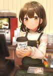 1girl absurdres apron barista blush brown_eyes brown_hair buttons cashier coffee_beans coffee_cup computer counter cup disposable_cup food fruit highres iluka_(ffv7) jar long_sleeves looking_at_viewer orange original pear pen plate pocket short_hair smile spoon