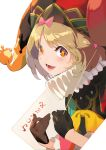 +_+ 1girl balloon black_gloves blonde_hair bow card clover eyebrows_visible_through_hair gloves hat highres jester jester_cap joker looking_at_viewer neck_ruff orange_eyes original playing_card ribbon short_hair solo spade_(shape) symbol-shaped_pupils white_background zenmaibook