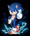 1boy blue_fur blue_spine commentary electricity english_commentary full_body gloves green_eyes hand_on_hip hedgehog highres index_finger_raised jewelry kohane01 male_focus red_footwear redesign ring shoes smirk sneakers snout solo sonic sonic_the_hedgehog sonic_the_hedgehog_(movie) sparkle white_gloves