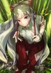 1girl baggy_pants bamboo bamboo_forest bangs bow burning burning_clothes burnt_clothes clenched_teeth collared_shirt commentary_request dappled_sunlight day eyebrows_visible_through_hair fire floating_hair forest from_above fujiwara_no_mokou grass hair_bow highres hime_cut knee_up l!bra long_hair looking_at_viewer nature ofuda ofuda_on_clothes outdoors pants red_bow red_eyes red_pants shirt sidelocks sitting smile solo stitches sunlight suspenders suspenders_pull teeth torn_clothes touhou very_long_hair white_bow white_hair white_shirt