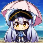 1girl 7:08 beach blue_jacket chibi closed_mouth hat highres hood hooded_jacket island_(game) jacket long_hair ocean ohara_rinne pink_umbrella shore silver_hair smile solo umbrella white_footwear white_headwear white_sleeves yellow_eyes
