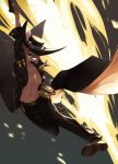 1girl bare_hips breasts cosplay cowboy_hat crossover explosion fumafu girls_frontline grizzly_mkv grizzly_mkv_(girls_frontline) guilty_gear hat highres johnny_sfondi johnny_sfondi_(cosplay) long_jacket smile solo sunglasses