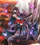 1girl asagik23 black_legwear breasts bug butterfly hair_ornament highres houchi_shoujo insect japanese_clothes katana large_breasts long_hair original red_eyes skirt sword weapon