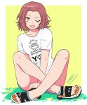 1girl ;d artist_name blue_shorts blush_stickers brown_eyes casual clothes_writing commentary dated fang full_body german_text girls_und_panzer highres indian_style leaning_to_the_side medium_hair one_eye_closed open_mouth outside_border redhead rosehip sandals shirt short_shorts short_sleeves shorts signature sitting skin_fang smile solo t-shirt v_arms white_footwear white_shirt yellow_background zono_(inokura_syuzo029)