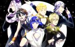 6+boys arm_up bare_shoulders black_background black_coat black_eyes black_hair black_neckwear black_sweater blonde_hair blue_eyes blue_hair bob_cut braid bruno_buccellati closed_mouth collar giorno_giovanna guido_mista hair_ornament hat headband highres hole houseki_no_kuni jojo_no_kimyou_na_bouken leone_abbacchio long_hair long_sleeves looking_at_viewer looking_to_the_side medium_hair multicolored_hair multiple_boys narancia_ghirga necktie open_mouth pannacotta_fugo parody purple_hair short_hair sidelocks single_braid sleeveless smile standing sweater tiyi_(tiyi_a09) two-tone_background two-tone_hair vento_aureo violet_eyes white_background white_hair white_sweater wristband yellow_eyes