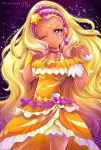 1girl amamiya_erena blonde_hair choker cowboy_shot cure_soleil dress hair_ornament highres long_hair looking_at_viewer magical_girl mole mole_under_eye one_eye_closed orange_dress parted_lips precure shiny shiny_skin smile solo standing star star_hair_ornament star_twinkle_precure tan twitter_username uta_(yagashiro25) violet_eyes wrist_cuffs