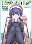 1girl black_legwear black_sweater blue_hair blush bobblehat breath character_name cloak commentary copyright_name dated eating english_text eyebrows_visible_through_hair food fringe_trim happy_birthday highres holding holding_food hood hooded_cloak kasai_shin long_sleeves looking_at_viewer mittens purple_headwear purple_mittens purple_scarf scarf shima_rin sitting solo sweater thigh-highs violet_eyes yurucamp