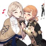 2boys 2girls annette_fantine_dominic black_hair blonde_hair blush boots bow closed_eyes commentary_request epaulettes faceless faceless_male felix_hugo_fraldarius fire_emblem fire_emblem:_three_houses food garreg_mach_monastery_uniform hair_bow highres knee_boots long_hair long_sleeves low_ponytail mercedes_von_martritz multiple_boys multiple_girls open_mouth orange_hair pocky pocky_day pocky_kiss redhead short_hair simple_background sylvain_jose_gautier twintails uniform white_background yappen yuri