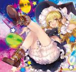 1girl ;d album_cover ankle_boots ass black_skirt blonde_hair bloomers blush boots bow braid breasts brown_footwear buckle cd cover double-breasted frilled_skirt frills hair_bow hand_on_headphones hand_up hat hat_bow headphones highres jewelry kirisame_marisa leg_up legs long_hair looking_at_viewer medium_breasts midriff navel necklace one_eye_closed open_mouth petticoat puffy_short_sleeves puffy_sleeves shoe_soles short_sleeves side_braid single_braid skirt skirt_set smile socks solo star starry_background touhou underwear v-shaped_eyebrows white_bow witch_hat wrist_cuffs yellow_eyes yuuki_yuchi