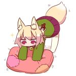 1girl all_fours animal_ear_fluff animal_ears bangs bell bell_collar blonde_hair blush brown_collar collar commentary_request cushion eyebrows_visible_through_hair fox_ears fox_girl fox_tail full_body green_shirt hair_bun hair_ornament jingle_bell kemomimi-chan_(naga_u) long_hair long_sleeves naga_u no_shoes original patches pleated_skirt purple_skirt ribbon-trimmed_legwear ribbon_trim sailor_collar shadow shirt sidelocks skirt sleeves_past_fingers sleeves_past_wrists solo sparkle tail thigh-highs v-shaped_eyebrows violet_eyes white_background white_legwear white_sailor_collar