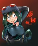 1girl absurdres asui_tsuyu atlus bandai bandai_namco blush_stickers bodysuit boku_no_hero_academia bones_(studio) breasts cosplay frog_girl goggles goggles_on_head green_hair hair_between_eyes highres large_breasts long_hair looking_at_viewer megami_tensei monster_girl namco persona persona_5 sakura_futaba sakura_futaba_(cosplay) shueisha tongue tongue_out very_long_hair yaobin_yang
