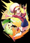 1girl black_background blush brown_eyes brown_hair cabbie_hat chikorita electricity gen_2_pokemon hat hat_ribbon highres holding holding_poke_ball kotone_(pokemon) looking_at_viewer motion_blur overalls poke_ball pokemon pokemon_(creature) pokemon_(game) pokemon_hgss red_footwear red_shirt ribbon shirt smile thigh-highs twintails white_legwear yakiniku_oc