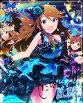 blue_eyes blush brown_hair character_name dress idolmaster_million_live!_theater_days long_hair smile tokoro_megumi