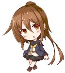 1girl absurdres bangs black_legwear black_sailor_collar black_skirt blue_jacket blush brown_eyes brown_footwear brown_hair chibi commentary_request crescent crescent_moon_pin eyebrows_visible_through_hair full_body fumizuki_(kantai_collection) hair_between_eyes highres ichi jacket kantai_collection long_hair long_sleeves open_clothes open_jacket parted_lips pleated_skirt ponytail remodel_(kantai_collection) sailor_collar shirt simple_background skirt socks solo very_long_hair white_background white_shirt yellow_neckwear