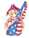 1girl american_flag_dress american_flag_legwear bangs blonde_hair blue_legwear blush clownpiece commentary_request dress eyebrows_visible_through_hair fairy_wings hair_between_eyes hat jester_cap legs_up long_hair looking_at_viewer neck_ruff no_shoes pantyhose partial_commentary phantom2071 polka_dot polka_dot_hat purple_headwear red_dress red_legwear short_sleeves simple_background sitting solo star star_print striped striped_dress striped_legwear thighs touhou violet_eyes white_background white_dress white_legwear wings