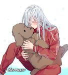 1boy animal artist_name closed_eyes dog gearous holding holding_animal long_hair makkachin male_focus silver_hair sitting snowflakes teenage track_suit viktor_nikiforov younger yuri!!!_on_ice