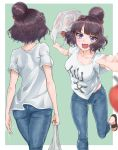 1girl absurdres apple ass bag bareru blue_eyes blurry border breasts brown_hair casual denim depth_of_field fate/grand_order fate_(series) food from_behind fruit green_background hair_bun highres jeans katsushika_hokusai_(fate/grand_order) large_breasts midriff_peek multiple_views pants plastic_bag sandals shirt shopping_bag solo sweat t-shirt tripping wavy_mouth white_border