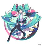 1girl :d absurdly_long_hair aqua_background arms_at_sides arms_up bare_shoulders beige_background black_legwear black_skirt blue_eyes blue_nails blue_neckwear breasts cloud_background clouds detached_sleeves eyebrows_visible_through_hair fingernails full_body hair_between_eyes happy hatsune_miku headset iwato1712 knees_together_feet_apart long_hair looking_at_viewer multicolored multicolored_background necktie open_mouth pleated_skirt polka_dot polka_dot_background purple_background shiny shiny_hair shirt shoulder_tattoo sidelocks simple_background skirt sleeveless sleeveless_shirt small_breasts smile solo sparkle sparkle_background standing standing_on_one_leg tattoo teeth thigh-highs twintails upper_teeth very_long_hair vocaloid white_background white_shirt zettai_ryouiki