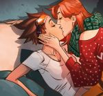 2girls brown_hair closed_eyes couch couple emily_(overwatch) freckles goggles goggles_on_head happy kiss long_hair multiple_girls official_art overwatch redhead shadow shirt short_hair sitting spiky_hair sweater tracer_(overwatch) white_shirt yuri