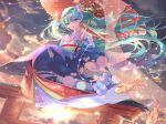 1girl aqua_eyes aqua_hair blush clouds cloudy_sky dutch_angle fish floating_hair floral_print flower furisode goldfish hair_flower hair_ornament hatsune_miku highres japanese_clothes kimono lens_flare light_particles lipstick looking_at_viewer makeup obi oriental_umbrella pink_kimono print_kimono qie_(25832912) sash signature sky solo sunset torii umbrella vocaloid yukata