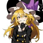 1girl bangs black_gloves black_headwear blonde_hair blush bow braid buttons eyebrows_visible_through_hair gloves grin hair_bow hat hat_bow kirisame_marisa long_hair long_sleeves manarou simple_background single_braid smile smug solo touhou upper_body white_background witch_hat yellow_eyes