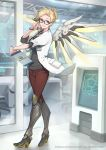 1girl adjusting_eyewear alternate_costume blonde_hair blue_eyes boots clipboard copyright doctor eito_nishikawa eyelashes folded_ponytail glasses hair_ornament hairclip high_heels highres knee_boots labcoat mechanical_wings mercy_(overwatch) name_tag official_art overwatch overwatch_(logo) parted_lips smile solo stethoscope wings wristband