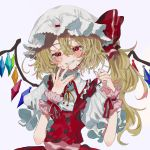 1girl bandaid bangs blonde_hair blush buttons clenched_teeth crystal ears embellished_costume eyelashes flandre_scarlet frilled_ribbon frills grey_background grin hair_between_eyes half-closed_eyes hand_to_own_mouth hands_up happy_tears hat hat_ribbon head_tilt high_collar highres long_hair looking_at_viewer messy_hair mob_cap nail_polish neck_ribbon pink_nails puffy_short_sleeves puffy_sleeves red_eyes red_ribbon red_skirt red_vest ribbon sash shirt short_sleeves side_ponytail simple_background skirt skirt_set smile solo tears teeth touhou upper_body vest wabun white_headwear white_shirt wings wrist_cuffs yellow_neckwear yellow_ribbon