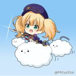 1girl :3 :d ascot bangs blonde_hair blush cabbie_hat chibi clouds commentary_request eyebrows_visible_through_hair fang glint green_eyes hat holding holding_sword holding_weapon jacket miicha monica_weisswind open_clothes open_jacket open_mouth outstretched_arm princess_connect! princess_connect!_re:dive purple_headwear purple_jacket red_neckwear saber_(weapon) shirt smile solid_circle_eyes solo sword twintails twitter_username v-shaped_eyebrows weapon white_shirt