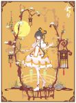 1girl absurdres ankle_boots bird black_hair boots border closed_mouth commentary_request dress flower gloves green_eyes hair_flower hair_ornament hair_rings hair_tubes hand_up highres ideolo lantern long_hair looking_at_viewer luo_tianyi musical_note musical_note_print orange_background petticoat puffy_short_sleeves puffy_sleeves rock short_sleeves sidelocks smile solo standing tassel tree vocaloid vsinger white_dress white_footwear white_gloves