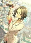 2girls bottle brown_hair glasses labcoat looking_at_viewer medium_hair mirror multiple_girls original paper pen pestle pill pocket red-framed_eyewear sink solo_focus standing supe_(yuusyasupepen) window