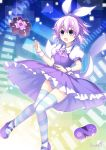 1girl alice_in_wonderland artist_name binato_lulu bow breasts commentary dress eyebrows_visible_through_hair floating hair_between_eyes hair_ornament neptune_(neptune_series) neptune_(series) open_mouth panties puffy_short_sleeves puffy_sleeves purple_hair purple_theme ribbon short_hair short_sleeves small_breasts striped striped_legwear striped_panties thigh-highs underwear violet_eyes wrist_cuffs