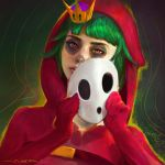 1girl dark_background gloves green_hair highres looking_at_viewer makeup mario_(series) oliver_wetter orange_eyes painting portrait red_gloves red_hood shy_gal shy_guy super_crown super_mario_bros. white_mask