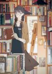 1girl amada_(12785891) apron bangs blunt_bangs blurry blurry_background book bookshelf braid brown_jacket glasses highres holding holding_book indoors jacket ladder long_hair long_neck original pale_skin pen picture_(object) pocket smile solo standing twin_braids twintails