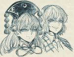 2girls bangs commentary_request eyebrows_visible_through_hair greyscale grin junko_(touhou) kazami_yuuka long_hair looking_to_the_side monochrome multiple_girls necktie portrait short_hair smile space_jin touhou
