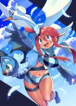 1girl bangs bird blue_eyes blue_footwear blue_gloves blush boots breasts clouds crop_top dark_skin eyebrows_visible_through_hair feathers fuuro_(pokemon) gen_5_pokemon gloves gym_leader hair_between_eyes hair_ornament highres holding holding_poke_ball iroyopon medium_breasts midriff navel one_side_up open_mouth poke_ball pokemon pokemon_(creature) pokemon_(game) pokemon_bw redhead sidelocks sky swanna swoobat thigh_strap