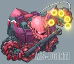 bazooka_(gundam) chibi commentary_request extra_arms finger_cannon from_above full_body glowing glowing_eye grey_background gundam horn no_humans one-eyed pink_eyes simple_background susagane zaku_ii