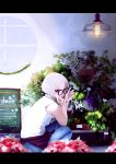 1girl absurdres black-framed_eyewear denim florist flower glasses highres jeans light_bulb looking_at_viewer looking_back machi_yashiro original pants pen placard plant red_eyes shirt short_hair sign sleeveless smile solo squatting white_hair white_shirt window