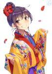 1girl flower graphite_(medium) hibiscus highres mechanical_pencil okinawa original pairan pencil ryuusou traditional_media