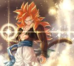 1boy abs arm_at_side blue_eyes blurry bokeh depth_of_field dragon_ball dragon_ball_gt dragon_ball_z energy_ball glowing gogeta gradient gradient_background grey_background legs_apart light_particles light_rays long_hair looking_away mattari_illust monkey_tail pants pectorals redhead smile spiky_hair standing super_saiyan_4 tail twitter_username upper_body very_long_hair waistcoat white_background white_pants wristband