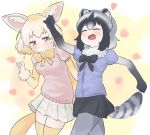 2girls :d ^_^ absurdres animal_ear_fluff animal_ears black_hair black_neckwear black_skirt blonde_hair blush bow bowtie brown_eyes closed_eyes commentary common_raccoon_(kemono_friends) cowboy_shot elbow_gloves extra_ears eyebrows_visible_through_hair fang fennec_(kemono_friends) fox_ears fox_girl fox_tail fur_collar fur_trim gloves gradient_gloves grey_hair grey_legwear heart highres index_finger_raised kemono_friends kona_ming multicolored_hair multiple_girls open_mouth outstretched_arms pantyhose pleated_skirt puffy_short_sleeves puffy_sleeves raccoon_ears raccoon_tail short_hair short_sleeves simple_background skirt smile striped_tail tail thigh-highs walking white_gloves white_skirt yellow_legwear yellow_neckwear
