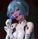 1girl ayanami_rei blue_hair breasts dark_background gloves highres lipstick looking_at_viewer makeup neon_genesis_evangelion oliver_wetter painting plugsuit red_eyes red_lipstick white_gloves