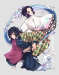 1boy 1girl back-to-back black_hair blue_eyes bug butterfly butterfly_hair_ornament buttons closed_mouth gradient_hair hair_between_eyes hair_ornament haori holding holding_sword holding_weapon insect jacket japanese_clothes katana kimetsu_no_yaiba kochou_shinobu kyarotto_(zenkixd) looking_at_viewer medium_hair multicolored_hair one_knee open_clothes ponytail purple_hair sheath short_hair simple_background smile sword tomioka_giyuu twitter_username two-tone_hair uniform unsheathing violet_eyes water water_manipulation weapon