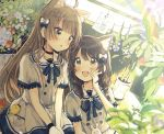 2girls :d ahoge animal animal_ear_fluff animal_ears backlighting bird black_choker blue_bow blurry blurry_foreground blush bow braid brown_eyes brown_hair cat_ears chick choker collarbone collared_shirt commentary_request depth_of_field dutch_angle flower food fruit hair_bow hand_up hands_together highres long_hair multiple_girls open_mouth original own_hands_together parted_lips pink_flower plant potted_plant rabbit red_flower sakura_oriko shirt shorts sitting skirt smile strawberry twin_braids very_long_hair white_bow white_flower white_shirt white_skirt