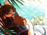 2boys apollo_(fate) book brothers brown_hair facial_hair fate/grand_order fate_(series) glasses goatee green_hair hand_behind_head hector_(fate/grand_order) highres male_focus multiple_boys ocean paris_(fate/grand_order) sheep siblings sleeping yawning
