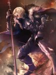 1boy armor armored_boots arrow_in_body blonde_hair blood blood_on_face bloody_weapon blue_eyes boots cape dimitri_alexandre_blaiddyd embers eyepatch fire fire_emblem fire_emblem:_three_houses full_body fur_cape gauntlets highres injury lance moyashi_mou2 open_mouth outdoors polearm profile short_hair shouting smoke solo teeth torn_cape torn_clothes weapon