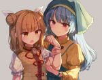 2girls :d apron aqua_apron armor armored_dress bangs blonde_hair blue_hair blush brown_eyes clenched_hand double_bun dress eyebrows_visible_through_hair frilled_sleeves frills grey_background hair_ribbon hand_up haniwa_(statue) haniyasushin_keiki head_scarf jewelry joutouguu_mayumi juliet_sleeves long_hair long_sleeves multiple_girls necklace open_mouth puffy_sleeves red_eyes ribbon shinoba shirt short_hair sidelocks smile touhou upper_body white_ribbon white_shirt wide_sleeves yellow_dress