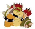 2boys absurdres armlet blush bowser closed_eyes crown fangs finger_to_another's_chin height_difference highres horns kendy_(revolocities) looking_at_another lord_peach male_focus mario_(series) multiple_boys new_super_mario_bros._u_deluxe redhead shell simple_background spiked_armlet thick_eyebrows white_background yaoi